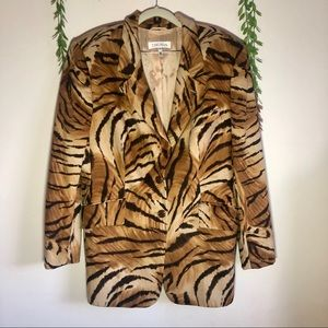 ESCADA Tiger Print Rabbit and Wool Jacket